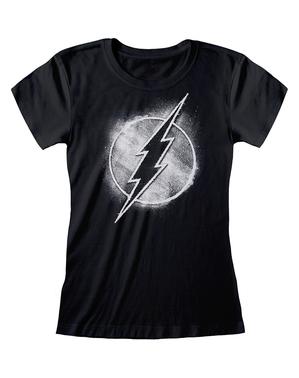 Черна дамска тениска със Светкавицата– комикси DC