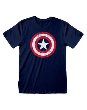 アベンジャーズ キャプテン・アメリカ・ロゴ男性用Tシャツ、青