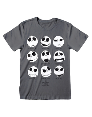 T-shirt di Jack Nightmare Before Christmas grigia per uomo