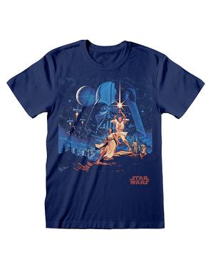 スターウォーズ新たなる希望 男性用Tシャツ、青