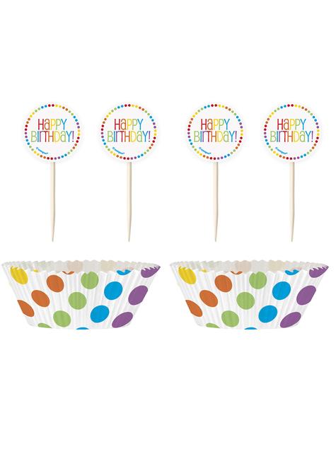 24 Cápsulas de cupcake + 24 toppers Happy Birthday arcoíris