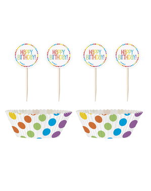 24 boldog születésnapot szivárvány papír cupcake bázis készlet készlet