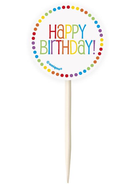 24 moules à cupcakes + 24 cake toppers Happy Birthday arc-en-ciel