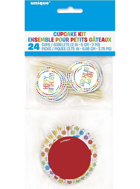 24 Cápsulas de cupcake + 24 toppers Happy Birthday arcoíris - comprar