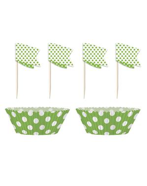 24 Cápsulas de cupcake + 24 toppers cor verde lima e pintas