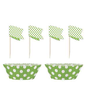 24 Capsule de cupcake + 24 toppers culoarea verde lime cu buline