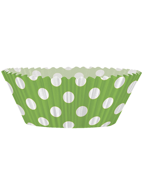24 Cupcake Förmchen + 24 Deko-Stäbchen in limonengrün mit Punkten