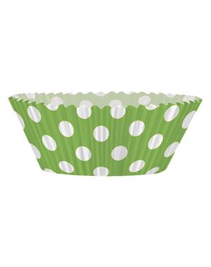 24 cupcake-capsules + 24 toppers en taupes in limoengroen