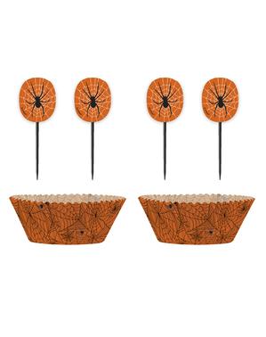 24 cupcake-capsules + 24 toppers met spinnen en spinnenwebben - Basic Halloween