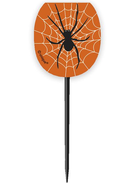 24 Cápsulas de cupcake + 24 toppers con arañas y telarañas - Basic Halloween - para tus fiestas