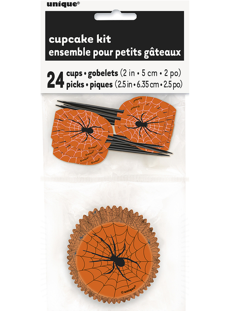 24 cupcake capsules + 24 toppers with spiders and cobwebs - Basic Halloween