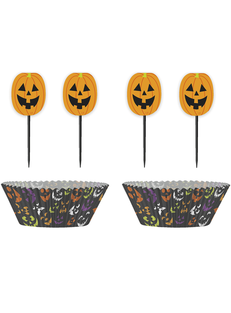 24 Cupcake Förmchen + 24 Halloween Deko-Stäbchen - Basic Halloween