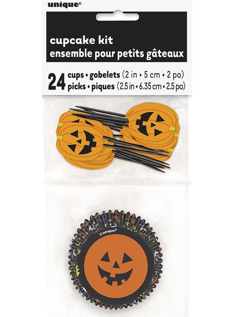 24 Cápsulas de cupcake + 24 toppers Halloween - Basic Halloween - barato