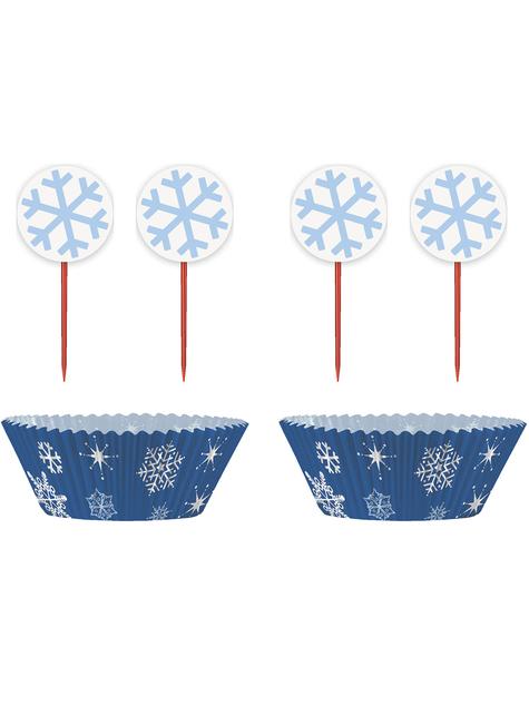 24 Cápsulas de cupcake + 24 toppers de copos de nieve - White Snowflakes