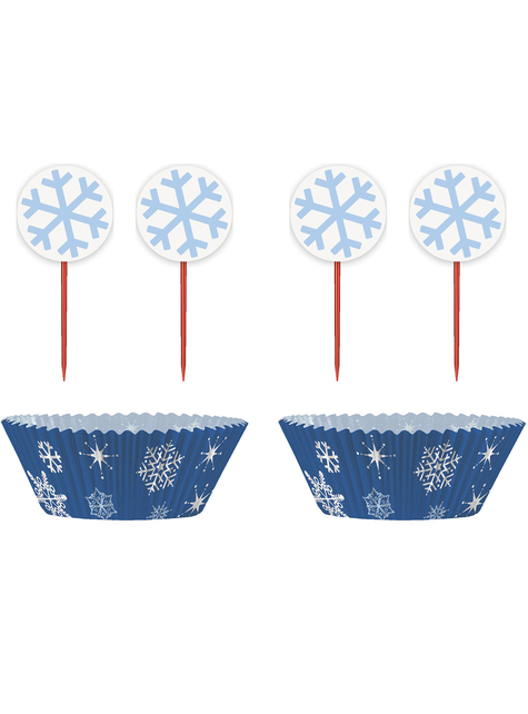 24 moules à cupcakes + 24 cake toppers flocons de neige - White Snowflakes