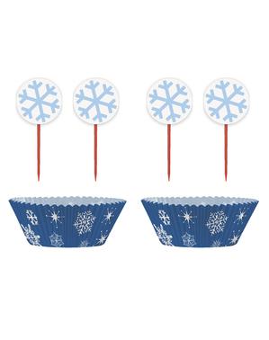 24 cupcakeformar + 24 dekorationspinnar med snöflingor - White Snowflakes