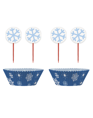 24 moules à cupcakes + 24 cake toppers flocons de neige - White Snowflakes