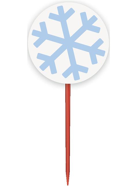 24 Cápsulas de cupcake + 24 toppers de copos de nieve - White Snowflakes - para tus fiestas
