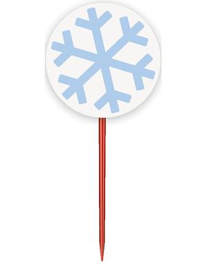 24 Cupcake Capsules + 24 Snowflake Toppers - White Snowflakes