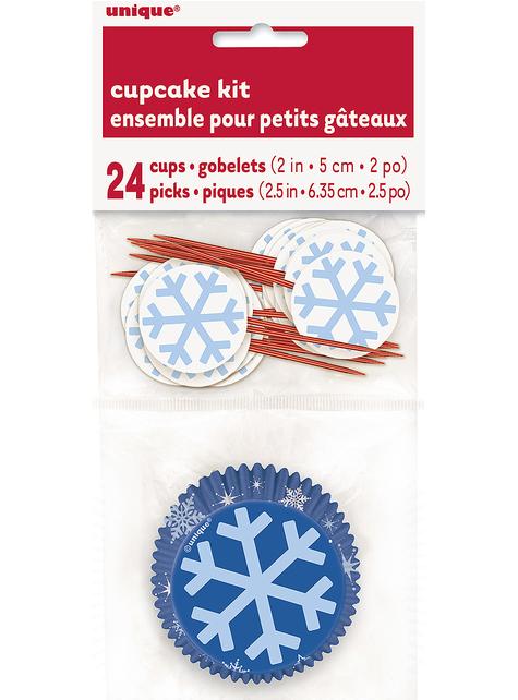 24 Cupcake Förmchen + 24 Schneeflocken Deko-Stäbchen - White Snowflakes