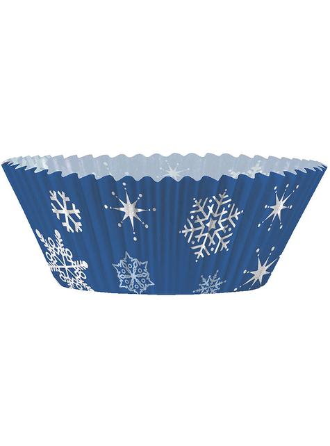 24 Cápsulas de cupcake + 24 toppers de copos de nieve - White Snowflakes - comprar