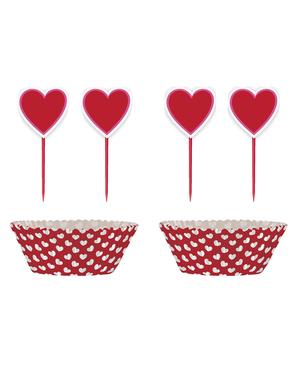 24 Capsule de cupcake + 24 toppers cu inimi