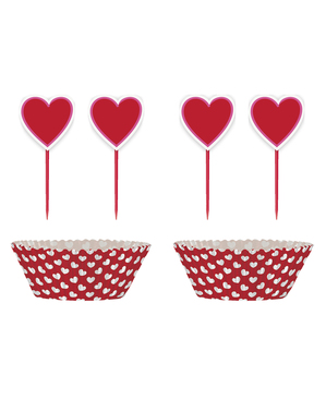 24 cupcakeformar + 24 dekorationspinnar med hjärta