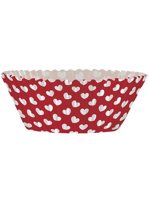 24 Cápsulas de cupcake + 24 toppers de corazón - para tus fiestas