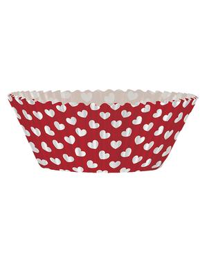 24 Cupcake Förmchen + 24 Herz Deko-Stäbchen