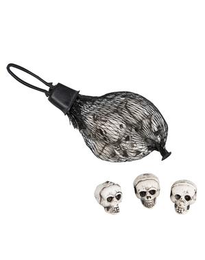 12 cranii mici decorative pentru Halloween (10 cm)