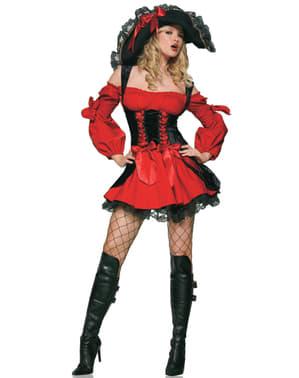 Секси кадифен дамски костюм на пират с корсет