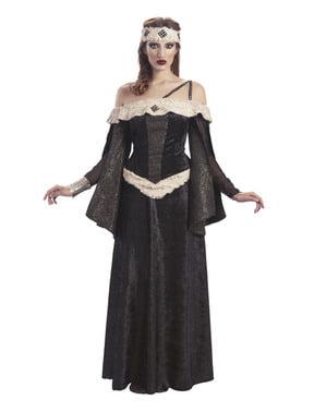Costum de regină medievală neagră pentru femeie