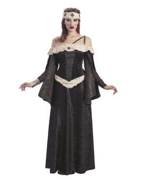 Déguisement reine médiévale noire femme