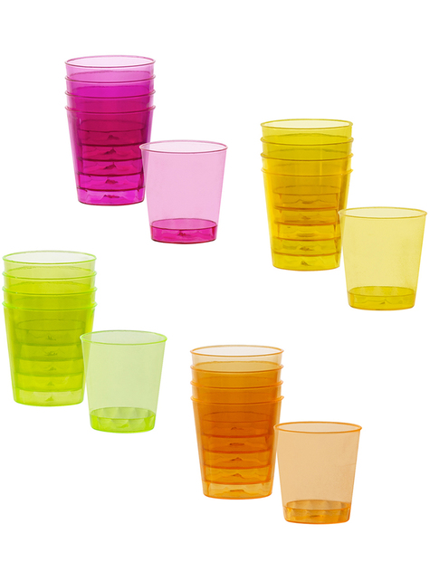 20 neon colored shot glasses