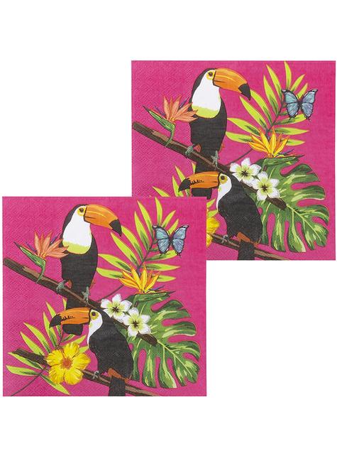 12 Serviettes en papier toucans (33x33 cm) - Toucan Party
