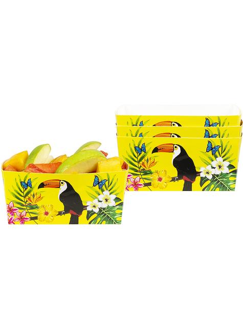 4 caixinhas de tucanos para aperitivos - Toucan Party