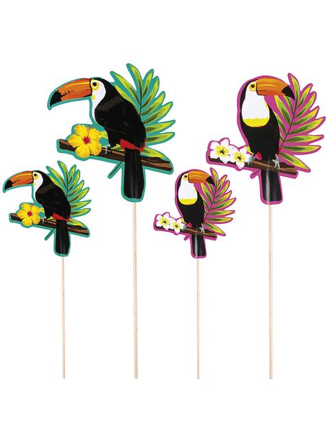 4 Cocktail Stäbchen - Toucan Party