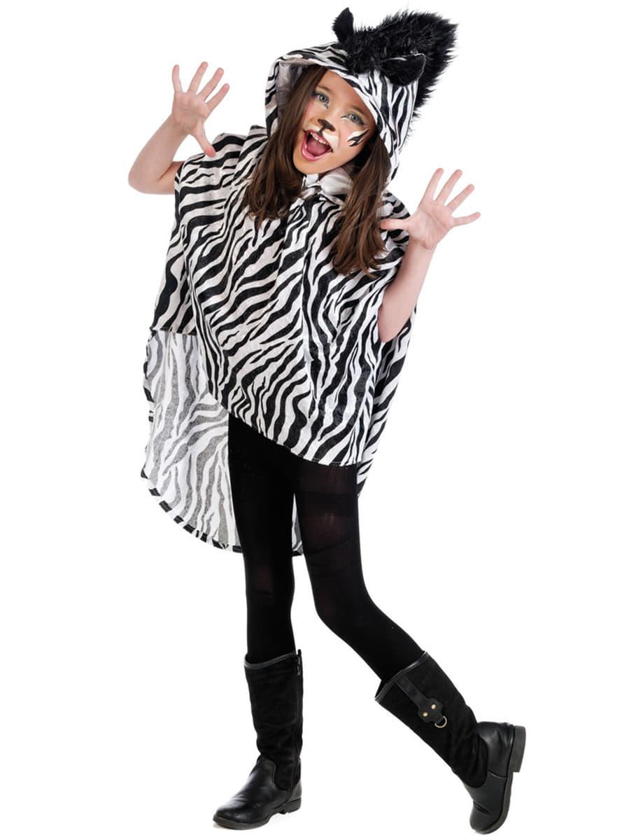witziger zebra poncho f r m dchen f r kost m funidelia. Black Bedroom Furniture Sets. Home Design Ideas