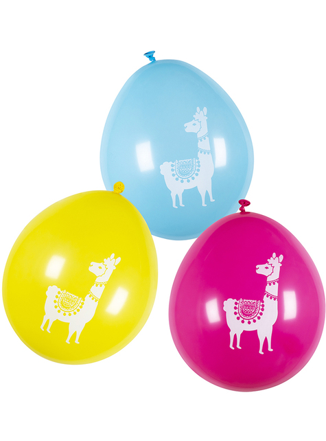 6 lama geassorteerde gekleurde latex ballonnen (25 cm) - Lovely Llama