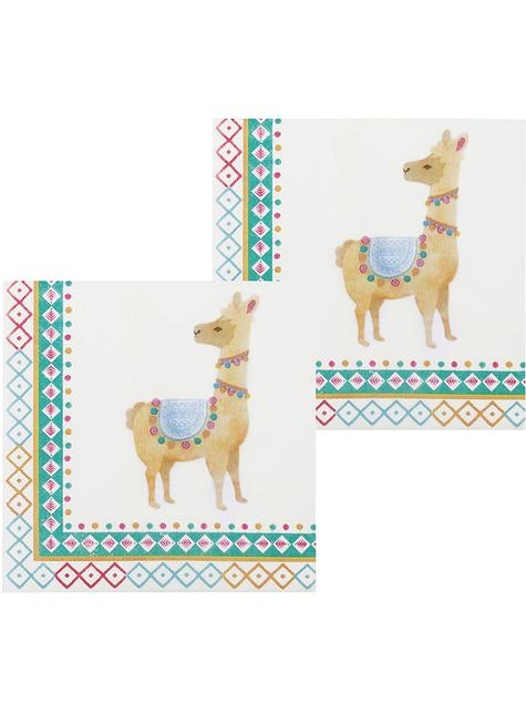 12 serviettes lama (33x33 cm) - Lovely lama