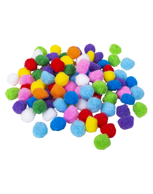100 balls of coloured assorted pompons