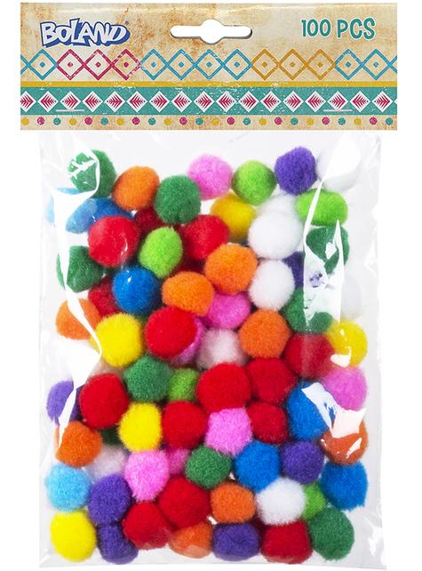 100 bolitas de pompones colores surtidos - para tus fiestas