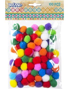 100 bolitas de pompones colores surtidos