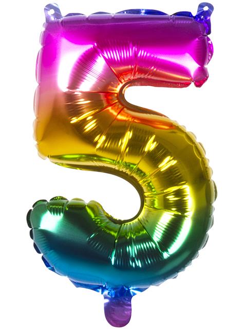 Ballon aluminium 5 multicolore 36 cm