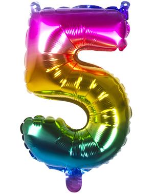 Folie ballon 5 multigekleurd 36 cm
