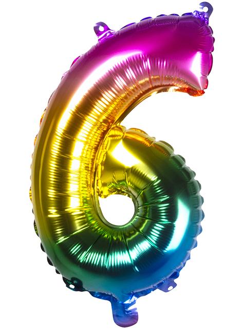 Ballon aluminium 6 multicolore 36 cm