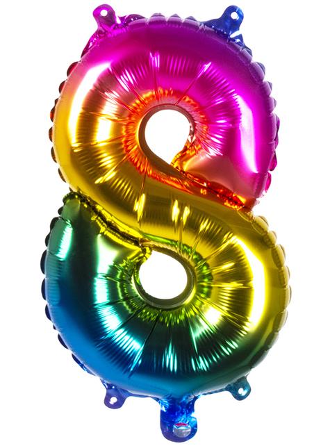 Ballon aluminium 8 multicolore 36 cm