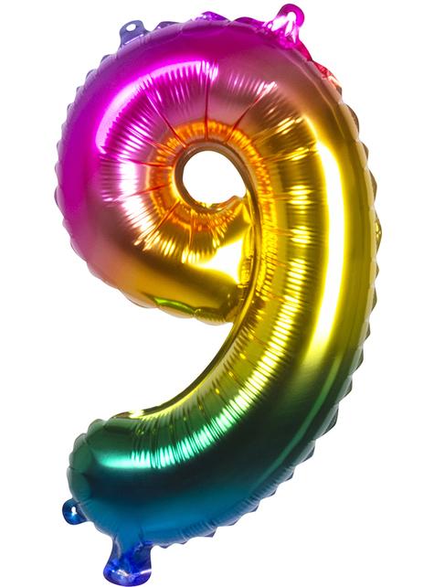 Ballon aluminium 9 multicolore 36 cm