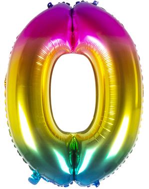 Folie ballon 0 multigekleurd 86 cm