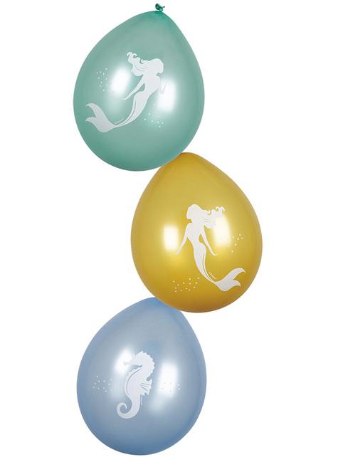 6 barevných latexových balonků s mořskou vílou - Mermaid Collection